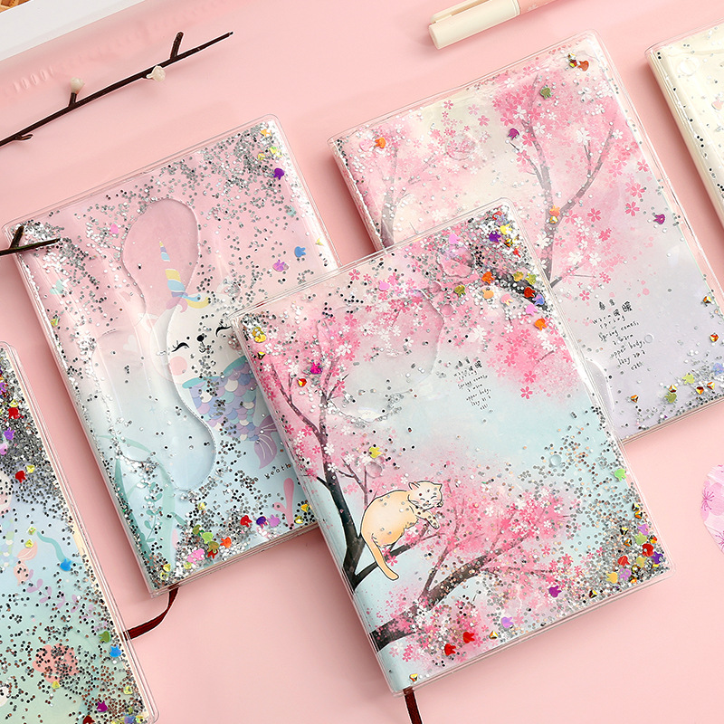 Kawaii Planner Book Creative Quicksand Oil Book PVC Rubber Sleeve Sequins 14.5*11cm Cute Pocket Diary Kawaii Student Stationery