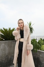 2021 Europe and the United States detachable fox fur leader double-sided cashmere coat autumn and winter fringed double-sided wo