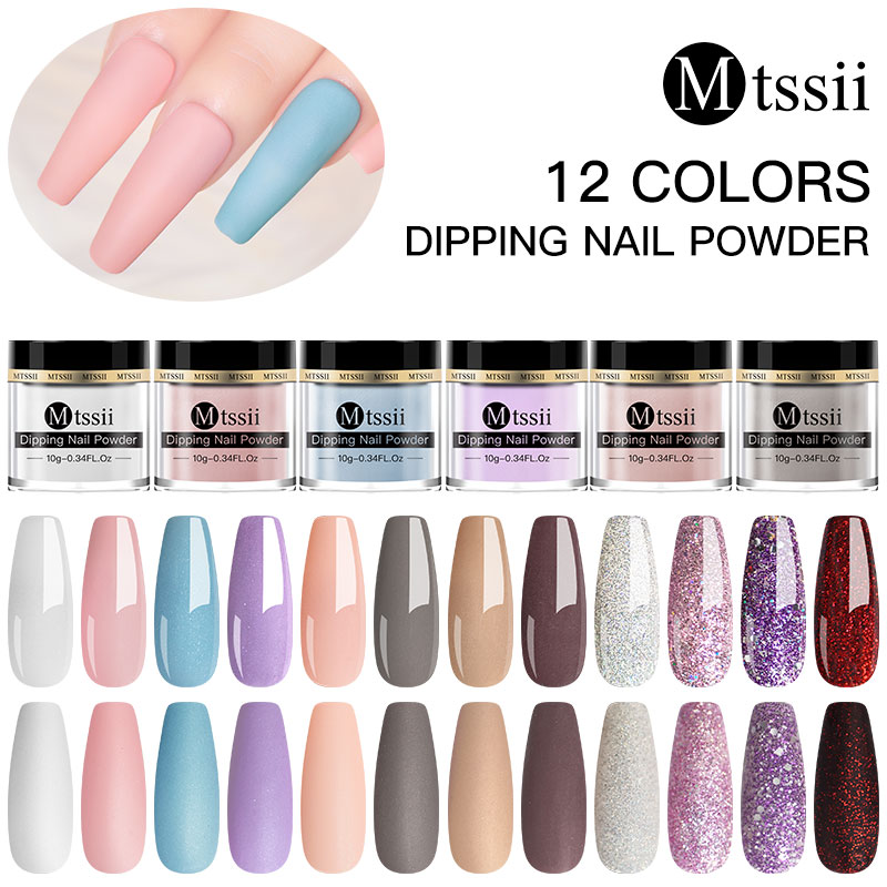 Mtssii 10g Matte Color Dipping Nail Powder Natural Dry Nail Art Decoration Without Lamp Cure Nail Dust Decors