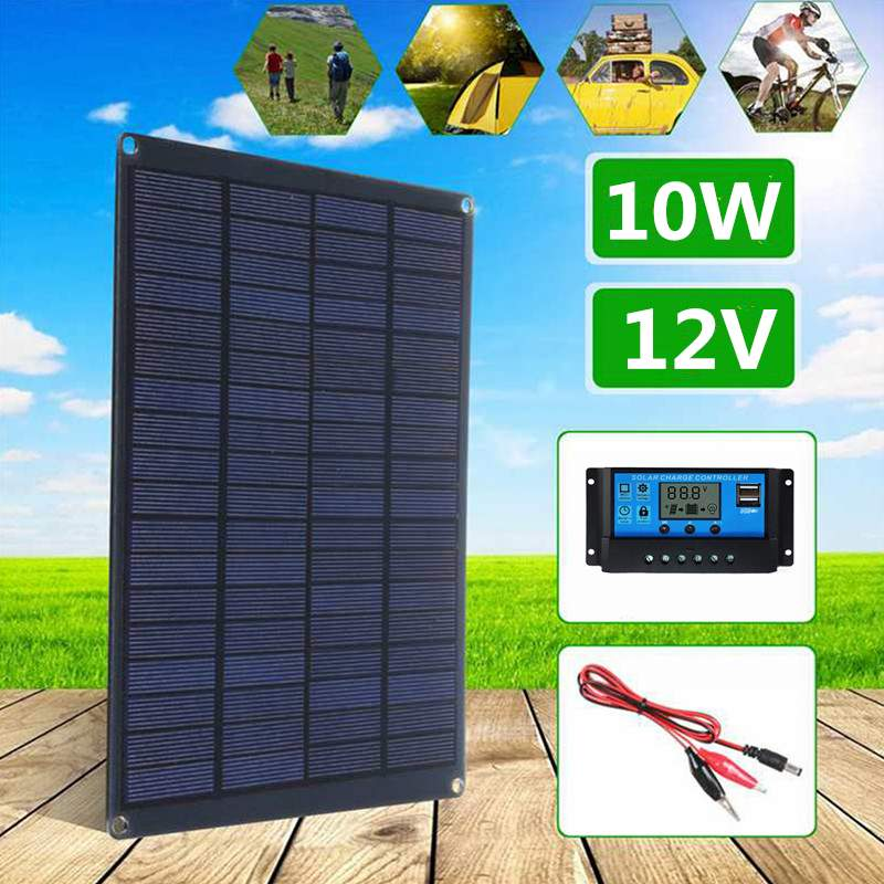 10W 12V Solar Panel with battery Clip+10/20/30/50A Solar Charger Controller for Outdoor Camping Hiking Waterproof Solar Cells image