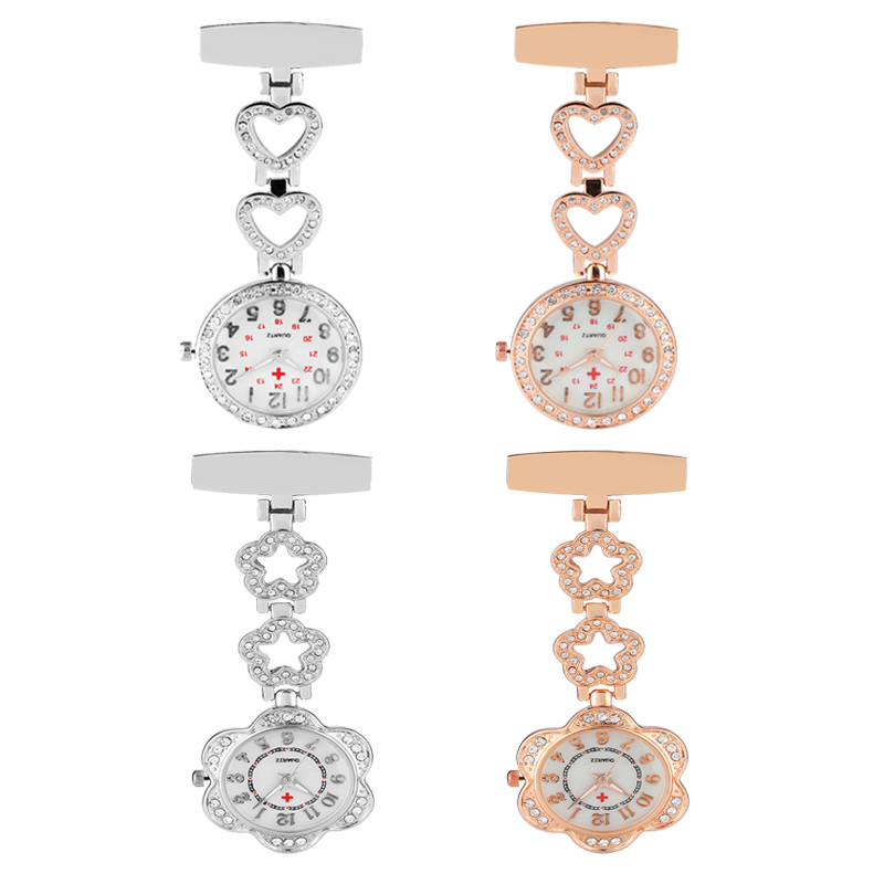 TOP Quality Stainless Steel Silver Rose Gold Nurse Watch Heart Petal Design With Diamonds Fob Pendant Watches Reloj De Bolsillo