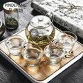 Автомобильный дорожный чайный набор  портативный чехол для переноски  набор для улицы  бамбуковый чайный поднос  зеленый чайник  4 чашки  под...