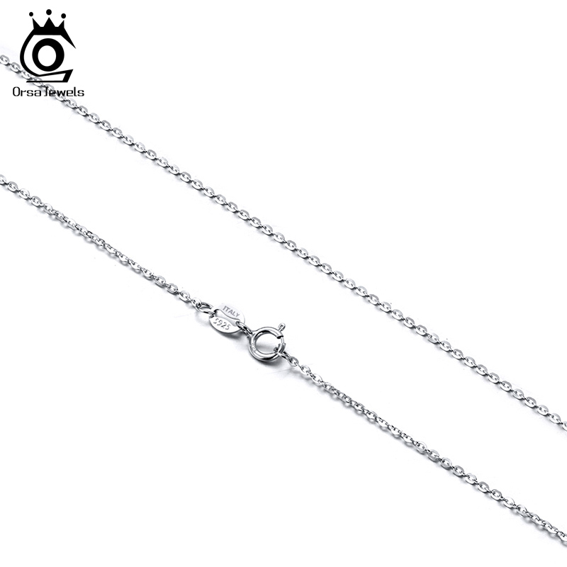 ORSA JEWELS Woman Necklace Italy 925 Sterling Silver <font><b>1mm</b></font> <font><b>Cable</b></font> Chain Necklace 40cm Rose Gold Color Jewelry Gift Wholesale OSC06 image