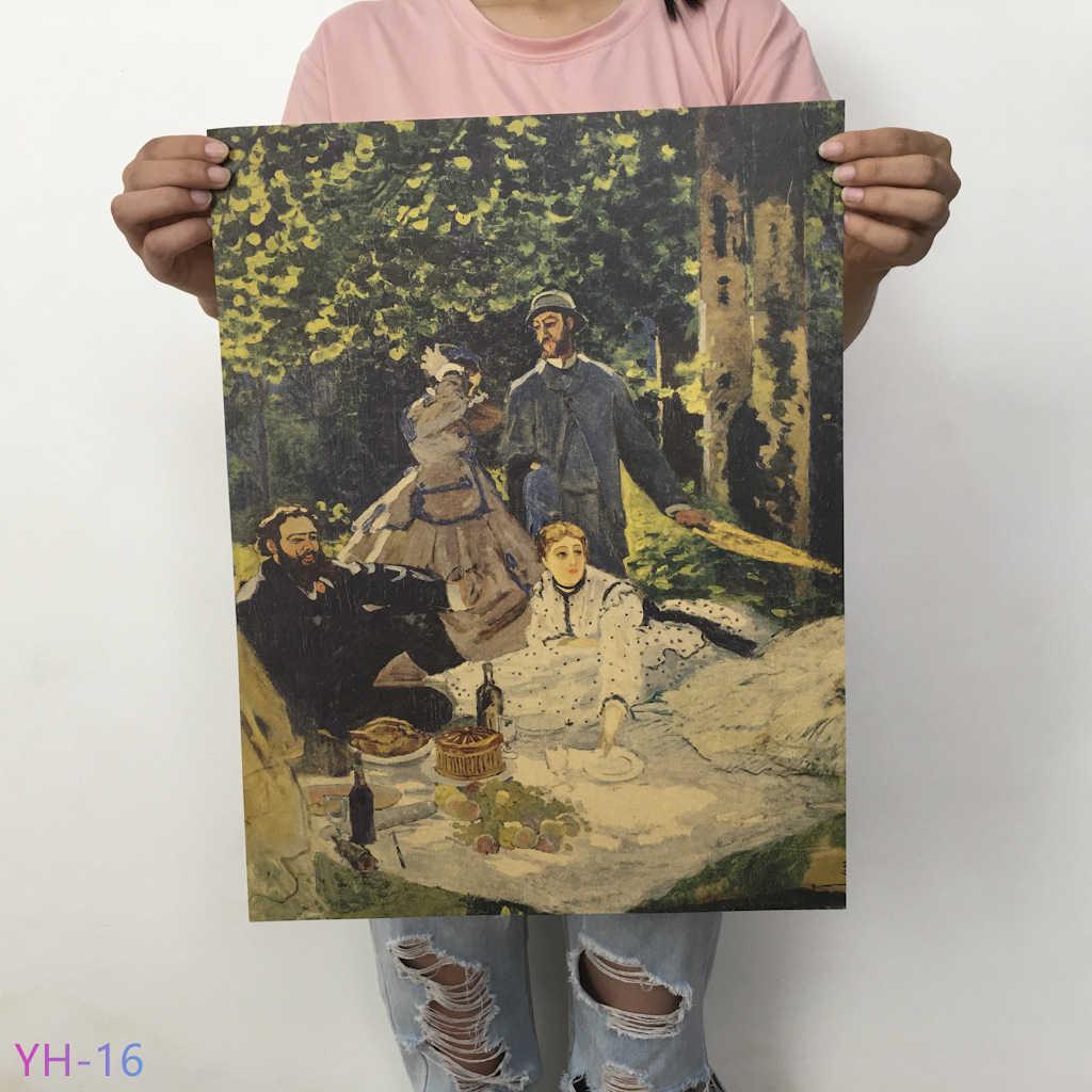 Van Gogh Monet Oil Painting Poster Kertas Kraft Retro Poster Seni Cafe Ruang Tamu Dekorasi Rumah Lukisan Inti YH-11-20