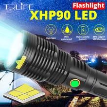 XHP90.2 슈퍼 밝은 LED 손전등 USB 충전식 토치 XHP50.2 XHP70.2 Zoomable 핸드 램프 26650 18650 배터리 플래시 라이트