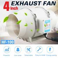 New 220V 4 Inch Low Noise Inline Duct Hydroponic Air Blower Fan Exhaust Fan for Home Bathroom Ventilation Vent and Grow Room