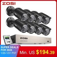 Venta Sistema de videovigilancia ZOSI 8CH 8x720 P/1080 P Interior Exterior IR cámaras de seguridad para el hogar a prueba de intemperie HD CCTV DVR kit 1TB HDD