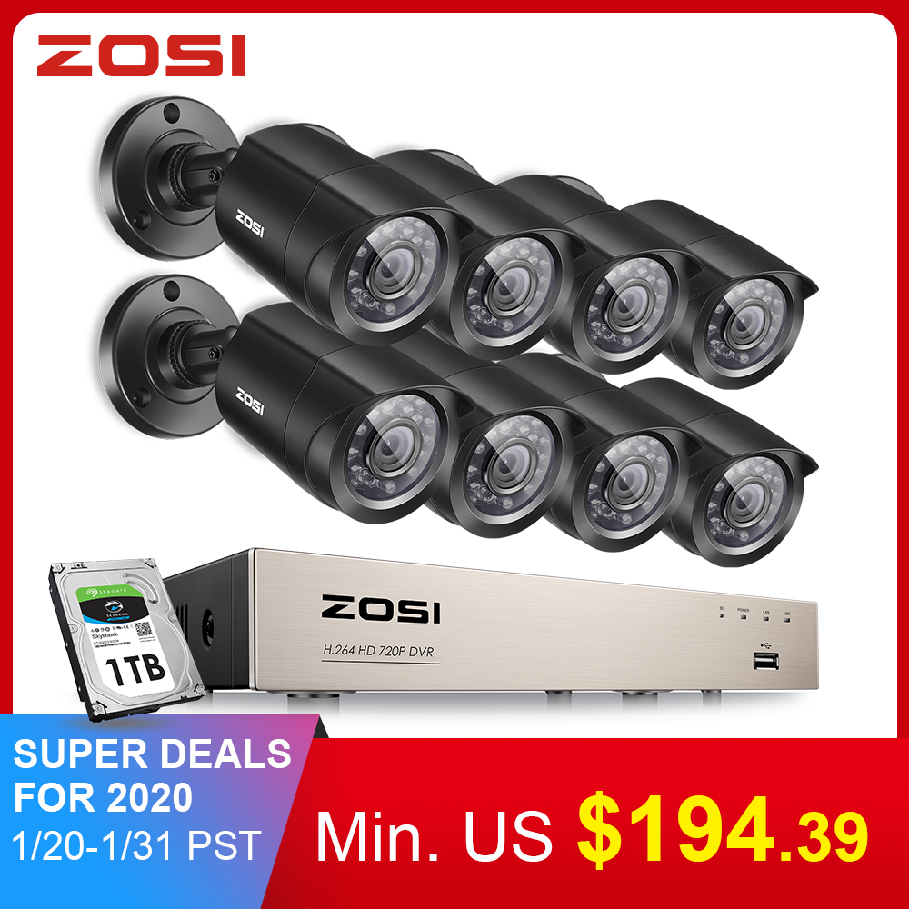 ZOSI 8CH Video Surveillance System 8x720P/1080P Indoor Outdoor IR Weatherproof Home Security Cameras HD CCTV DVR Kit 1TB HDD