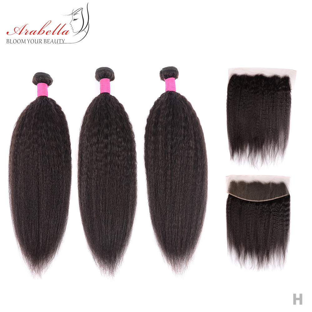 Kinky Straight Hair Bundles With Lace Frontal Arabella  Hair Pre Plucked Bleached Knots 13*4 Lace Frontal With Hair Bundles 1