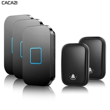 CACAZI Home Wireless Self-powered Doorbell No Battery Required Button US EU UK AU Plug Receiver 150M Remote Smart Calling Bell cacazi self powered wireless doorbell no battery us eu uk au plug 2 button 5 receiver smart home chime doorbell ring bell 220v