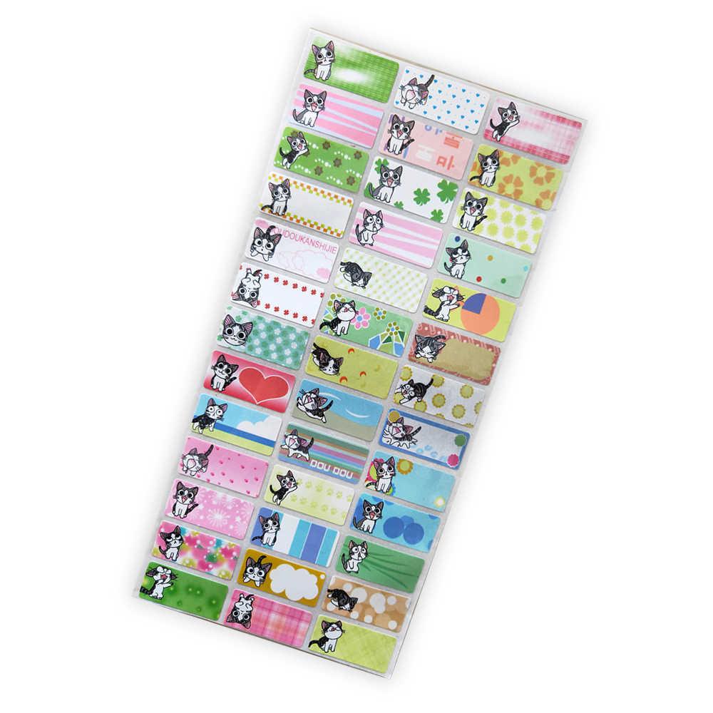 DIY 만화 고양이 패턴 방수 빈 이름 스티커 사용자 정의 소녀 개인 스티커 개인 필기 편지지 레이블