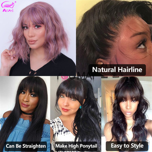 Image 4 - Cheap Body Wave Human Hair Wigs With Bangs Remy Hair Peruvian Body Wave Wigs Full Machine Made Wigs For Black Women 150% Density