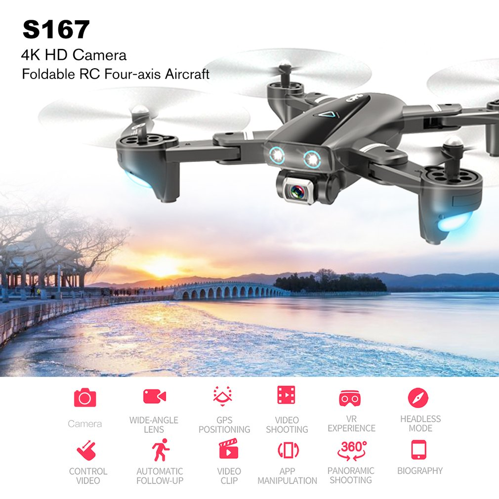 S167 5G Wifi FPV RC Drone With 4K HD Camera Wide-angle Drone GPS Positioning Drone Foldable RC Four-axis Aircraft