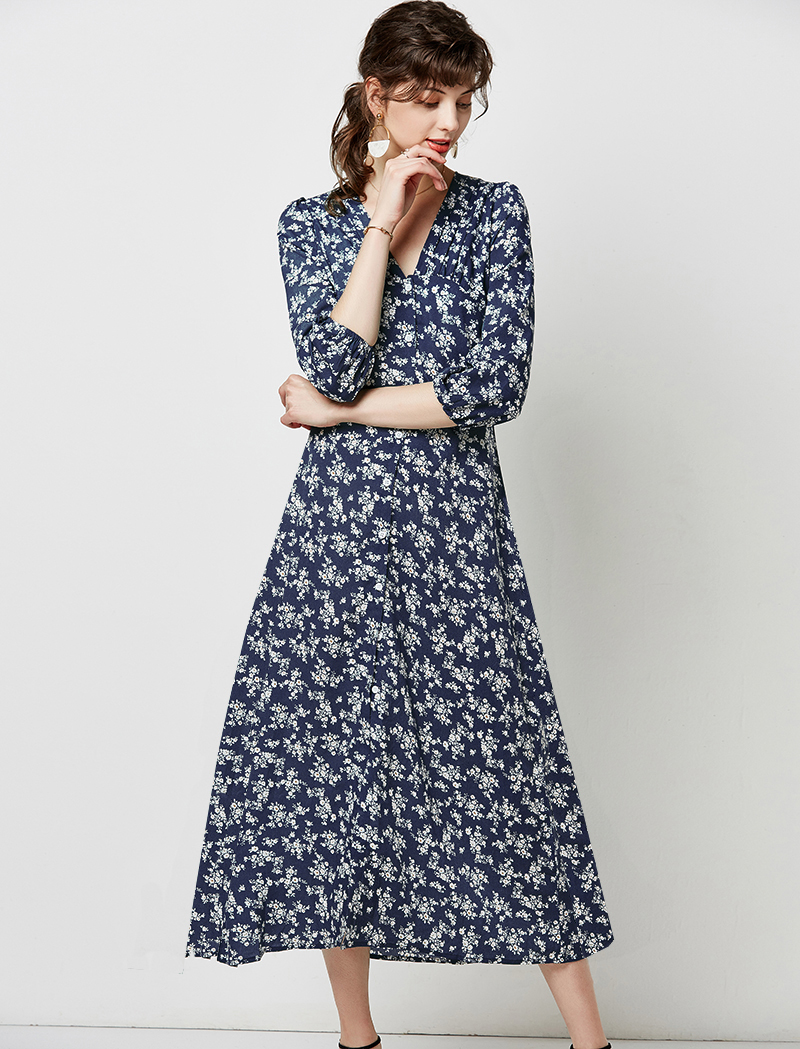 Autumn Elegant Floral Print Midi Dress Women 19 V Neck Button Casual Tunic Shirt Dress Lantern Sleeve Split Boho Long Dress 14