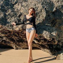 Conjunto de Bikini de verano negro de manga larga y bragas de cintura alta 2 uds traje de baño para mujer