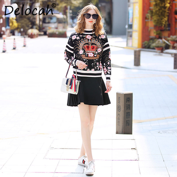 Delocah Runway Fashion Autumn Winter Wool Sweaters Women's Long Sleeve Crown Embroidery Vintage Lady Knitting Pullovers Sweaters
