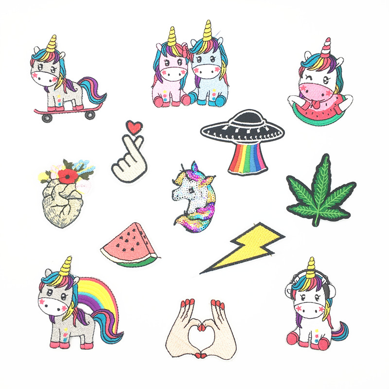 Cartoon Cute Sequin Patch Unicorn Animals Leaf UFO Iron On Patches for Clothing Girl Kids T-shirt Embroidered DIY Applique
