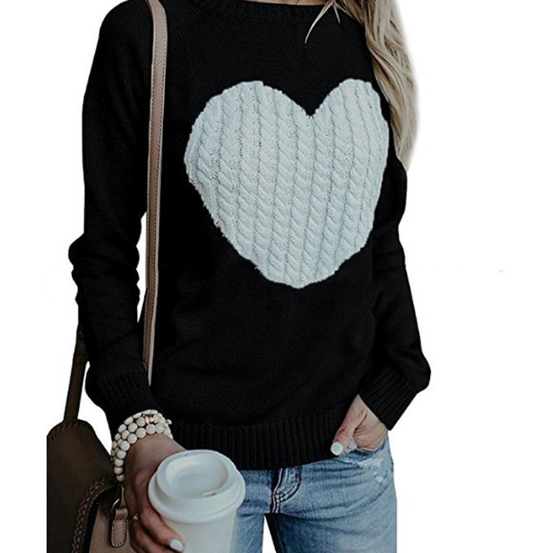 Autumn Winter Women Sweaters Heart Pattern Printed Long Sleeve Tops O-Neck Lovely Pullovers Knitted Loose Sweaters Tops 44