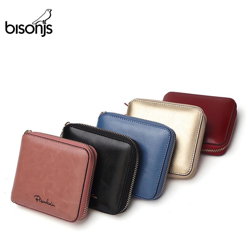BISONJS Women Purse Cowhide Genuine Leather Women Wallet Tassel Card Holder Wallet Luxury Women Wallet N9336