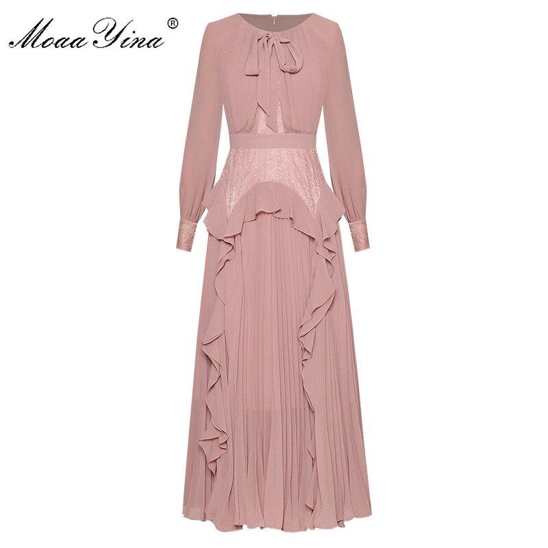 MoaaYina Fashion Designer Dress Spring Autumn Women's Dress Long Sleeve Lace Pleated Ruffles Chiffon Dresses