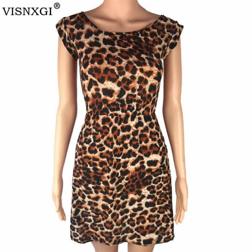 VISNXGI Women Summer Beach Dresses Leopard Print Dresses O Neck Female Casual Dress Leopard Print Girl Casual Mini Dress XXL