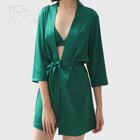 Novmoop American high quality women three quarter sleeve heavy weighted silk bathrobe women summer tops peignoir femme LT3104