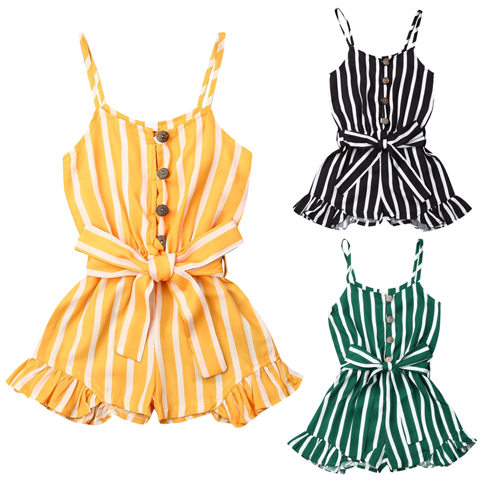 3-8Years Kid Girls Striped Jumpsuit Summer Girls Sleeveless Overalls Playsuit Children Costumes Red Black Blue