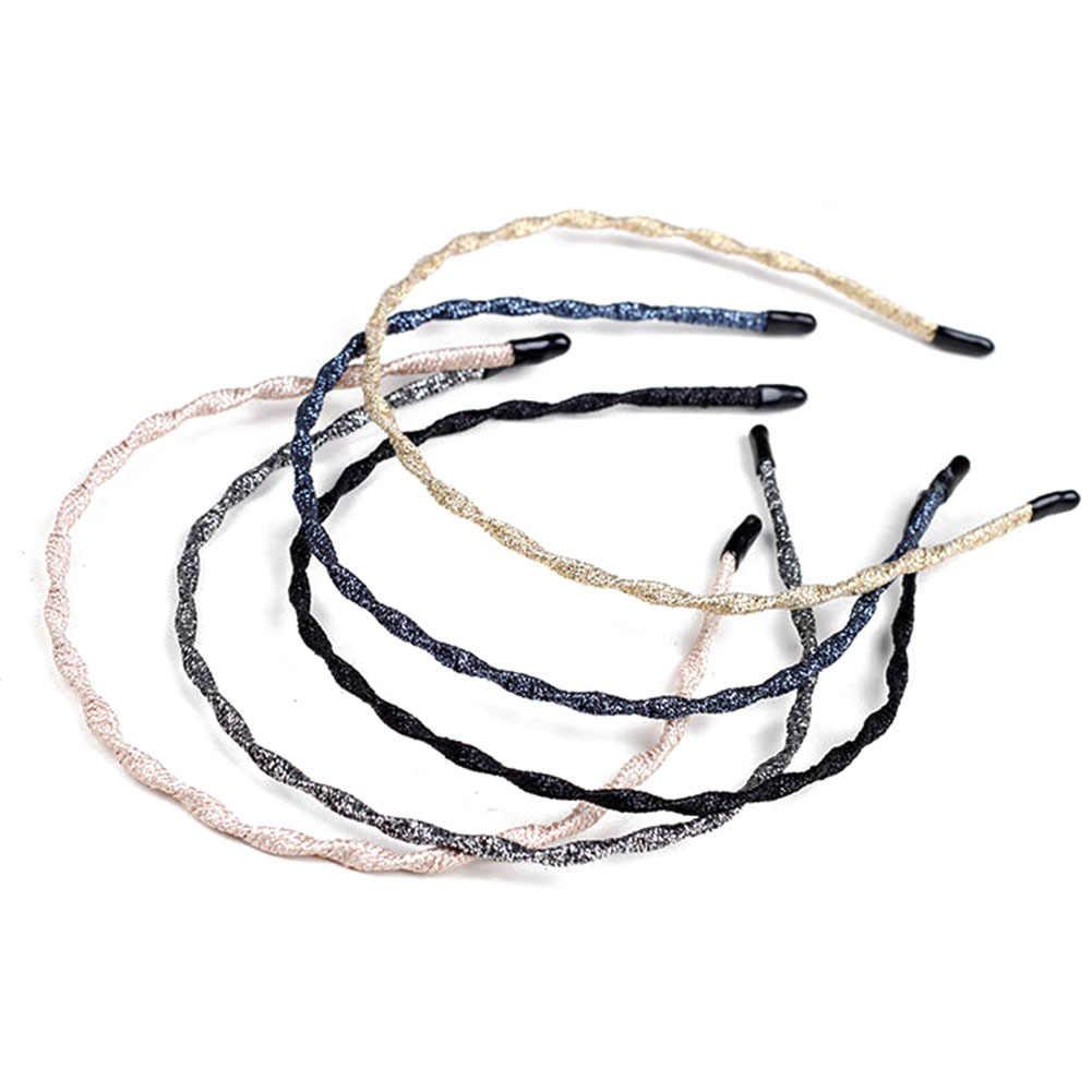 โลหะ Hairband ฤดูใบไม้ผลิ Wave Metallic สี Super Thin Glitter ผม Hoop Iron Craft Braided ล้างหน้า Geometric Headband