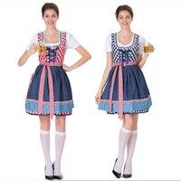 Germany Oktoberfest Bavarian traditional beer suit Red blue plaid embroidered maid costume Maid costume dress tutu