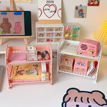 J-Q Ins Desktop Double-Layer Folding Storage Rack Foldable Dormitory Storage Artifact Free Installation Desk Girl Sundries Rack
