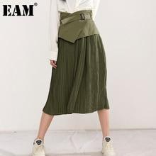 Sashes Skirt Women EAM Spring Pleated-Temperament Autumn High-Waist Green Fashion Tide