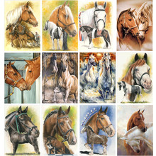 5D DIY Diamond Painting Painted Cartoon Animals Horses Mosaic Embroidery Animal Cross stitch Crafts Decoration