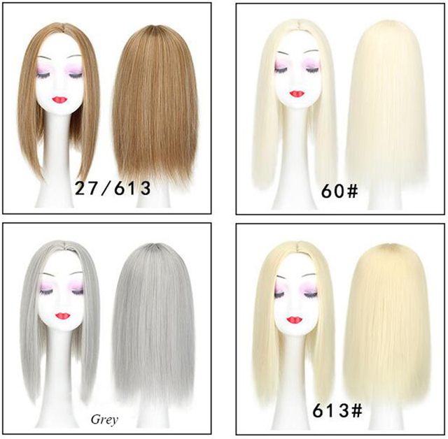 Women Hair Topper Piece Synthetic Hair 3 Clips In one piece Hair Extension long straight High Temperature Fiber 6
