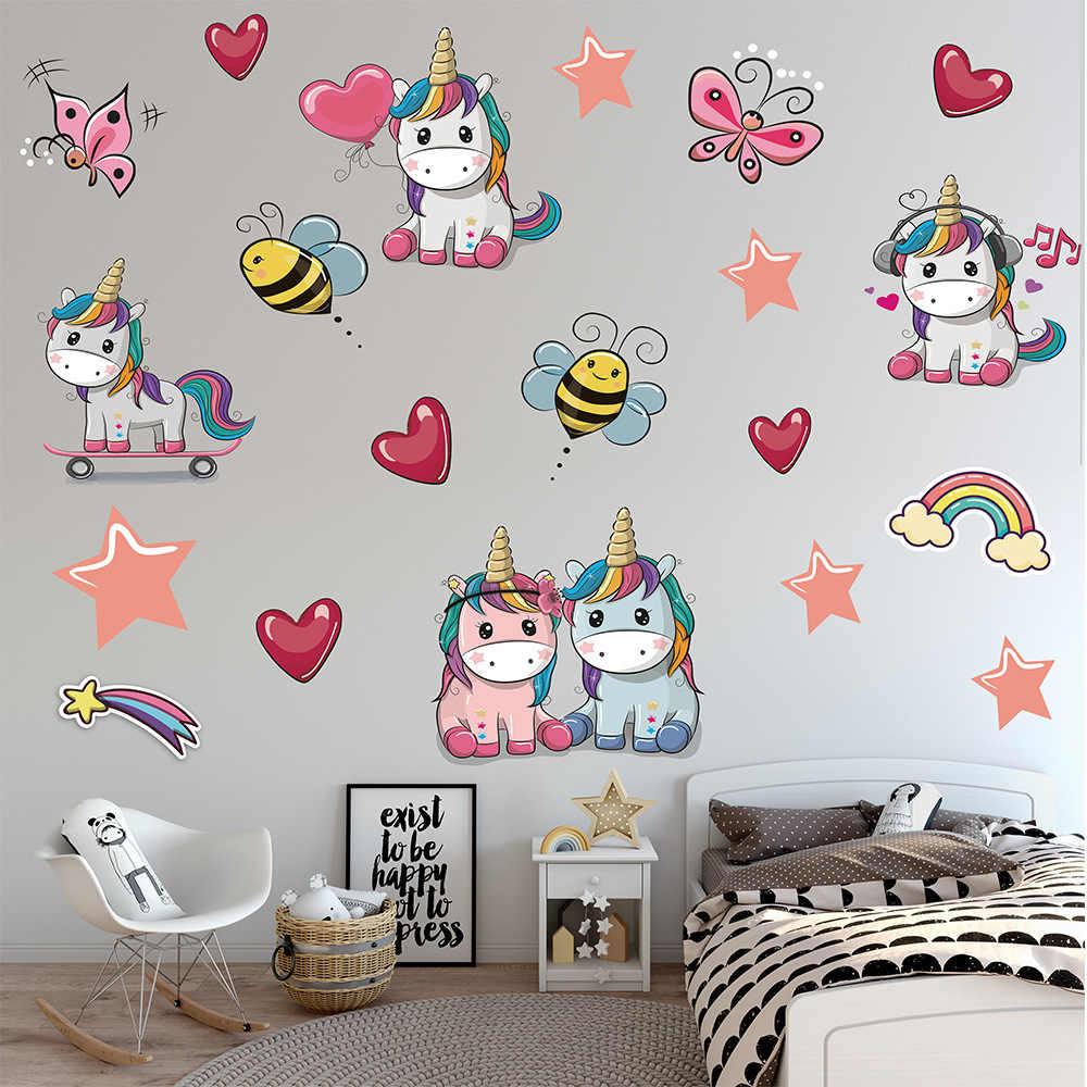 Мультфильм больше Единорог охрана окружающей среды наклейки на стену детская комната Гостиная Спальня украшение дома