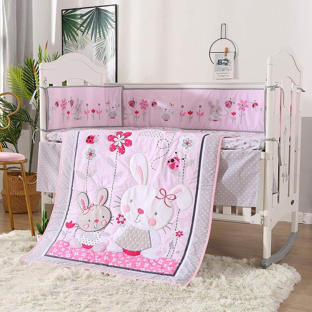 7pcs Embroidery Rabbit cotton baby cot bedding sets baby crib set protector de cuna (4bumpers+duvet+bed cover+bed skirt)