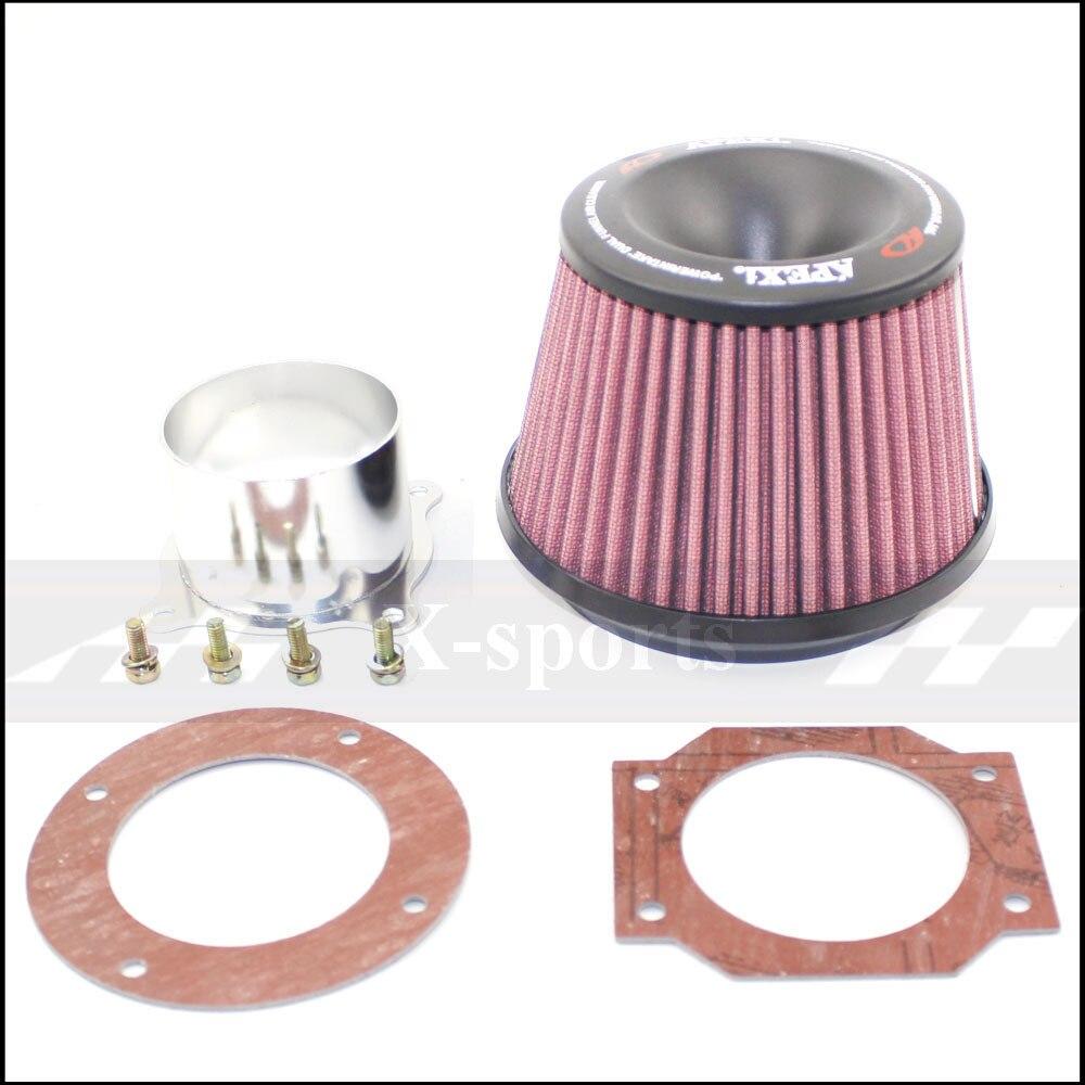 Samochód wysoki przepływ filtry samochodowe filtr powietrza dopływ powietrza uniwersalny APEXI czerwony 3 cale 76mm z łączącymi podstawowymi samochodami