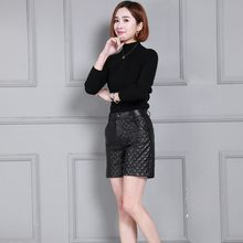 Winter Fashion Thicken Real Leather Plaid Women Shorts High Waist Slim Fit Wide Leg Shorts Top Quality Sheepskin Plus Size S-4XL(China)