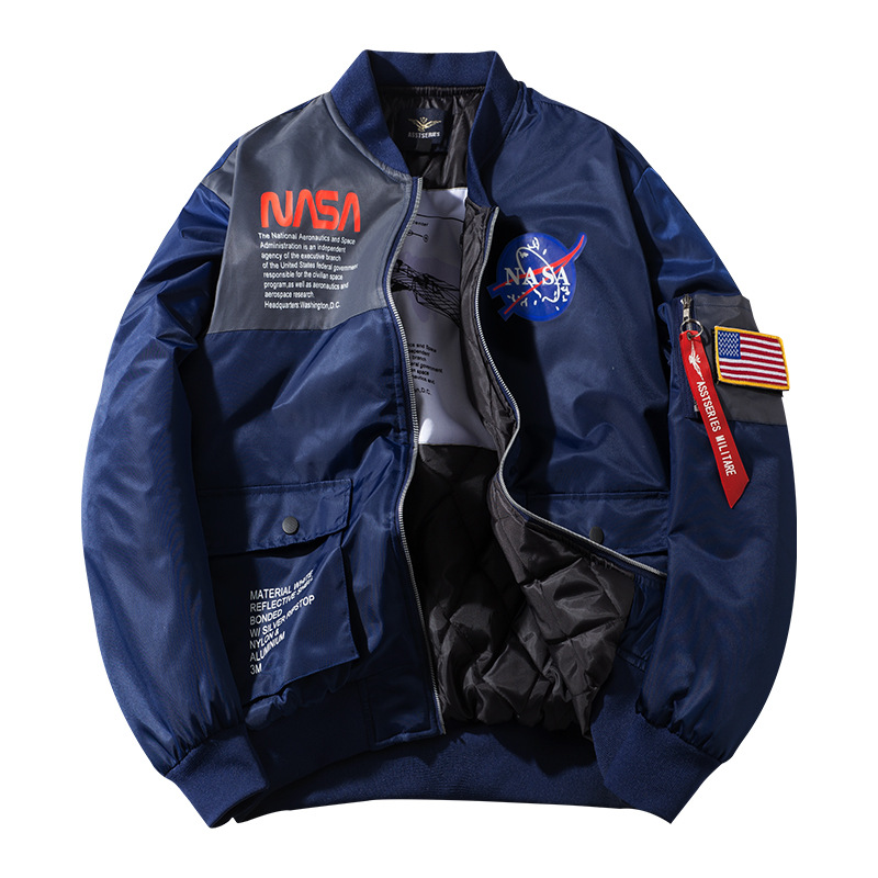 2019 Winter New Style MEN'S Cotton Clothes NASA Joint Pilots Stand Collar Jacket Large Size Couples Workwear