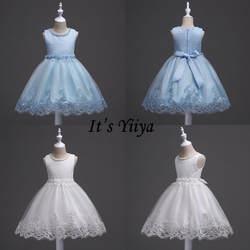 It's Yiya/Элегантное платье без рукавов с цветочным узором для девочек, вечерние платья с круглым вырезом для детей, платья для девочек на