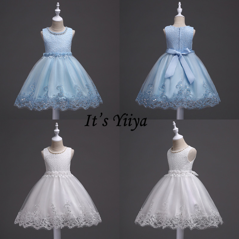 It's YiiYa Flower Girl Dress Elegant Sleeveless O-neck Kid Party Gowns Wedding Blue White Pink Purple Dresses For Girls 981