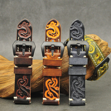 Onthelevel 20mm Watch Strap 22mm Band 18mm-24mm Handmade Carved Embossed Watchband With Brush Buckle #D
