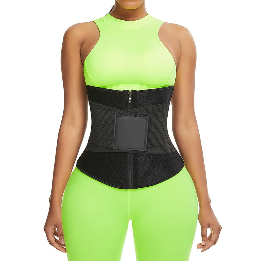 Neoprene Sweat Embossed Waist Trainer Black high waist Tummy Control for sport running shapewear Plus size
