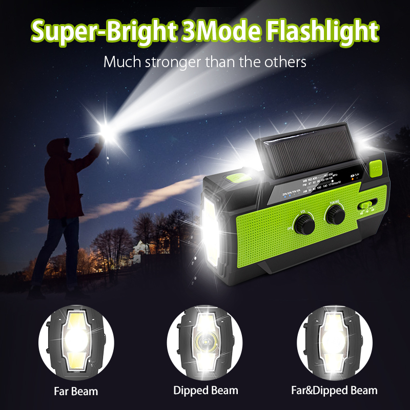 Outdoor Emergency Solar Hand Crank Weather Radio 4000mAh Power Bank Charger Flash Light Emergency Dynamo For Outdoor Activities 2