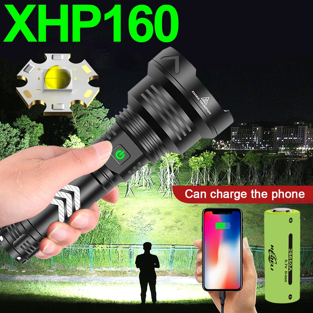 2021Newest XHP160 Most Powerful Led Flashlight Torch Light Rechargeable Tactical Flash Light 18650 Xhp90 Hunting Usb