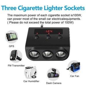 Image 5 - Sigarettenaansteker Splitter 4 USB Charger Adapter 3.6A 100W LED Voltage Detectie met Schakelaar Voor Mobiele Telefoon MP3 DVR