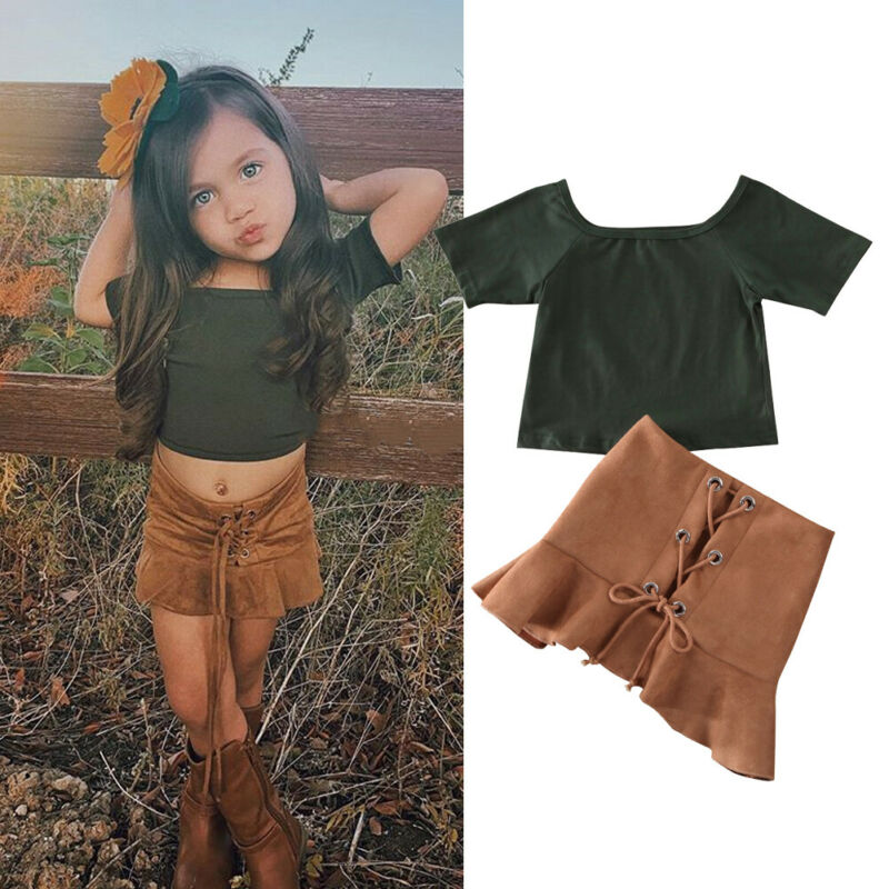 Newborn Toddler Kid Baby Girl 1T-6T Clothes Tops T-Shirt Skirt Outfit 2PCS