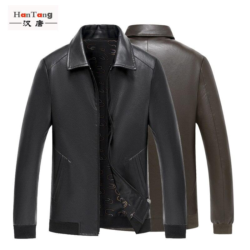 Heng Ming Men'S Wear New Style Casual Men's Fold-down Collar PU Leather Men Locomotive Leather Jacket Wandering Peddler