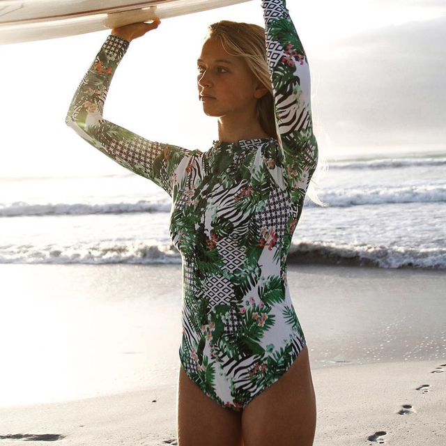 Surfing Print Floral One Piece Swimsuit