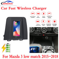 10 w qi carregador sem fio do carro carregador móvel para mazda 3 baixo jogo 2015 2018 de carregamento rápido caso placa console central caixa de armazenamento| |   -