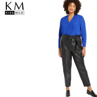 Kissmilk Plus Size Woman Clothes Solid Black High Waist With Belt Pleat Front Faux Leather Ankle Pant